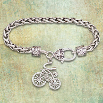 Crystal Bicycle Silver Braided Clasp Bracelet