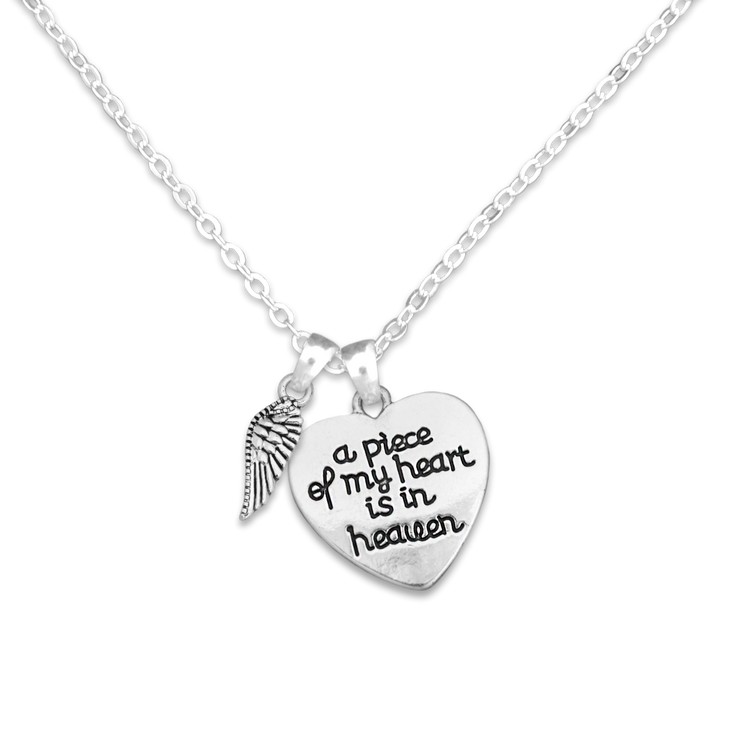 Engraved Piece Of My Heart Wing Charm Necklace