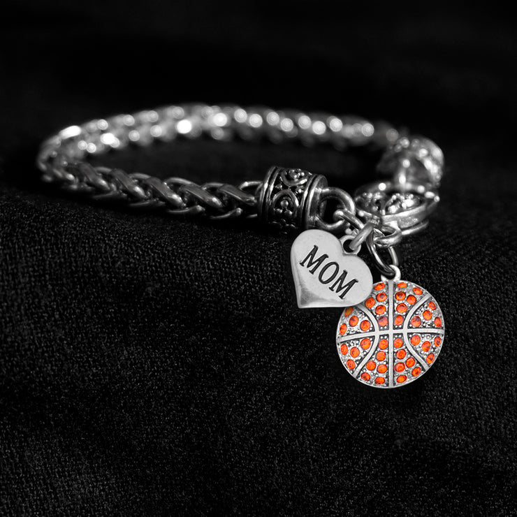 Mom Heart and Crystal Basketball Silver Braided Clasp Charm Bracelet