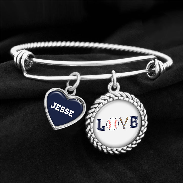 Customizable Baseball LOVE Icons Charm Bracelet