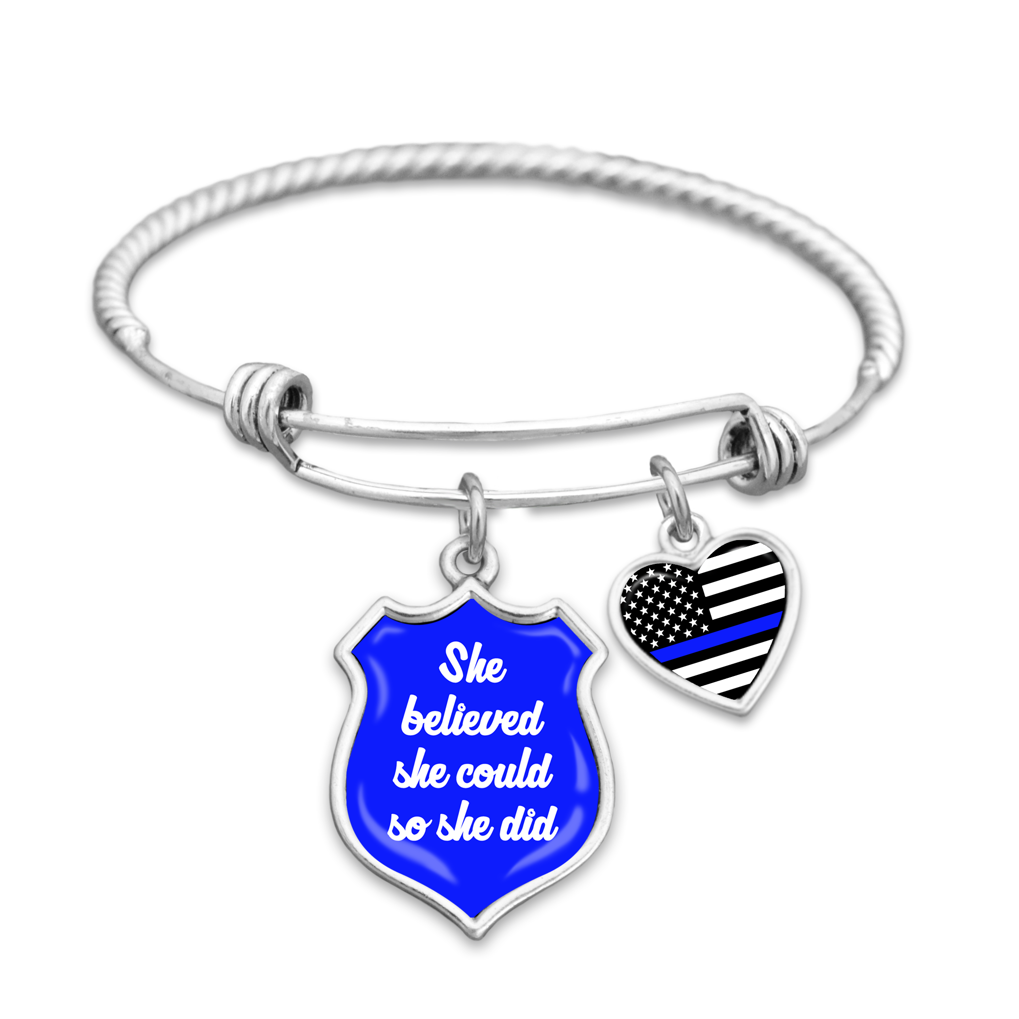 Thin Blue Line She Believed She Could So She Did Charm Bracelet