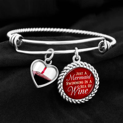 Just A Mermaid Swimming In A Sea Of Wine Charm Bracelet