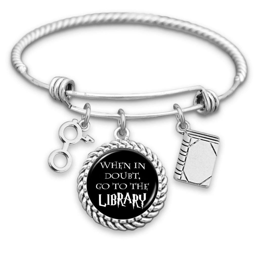 When In Doubt, Go To The Library Charm Bracelet