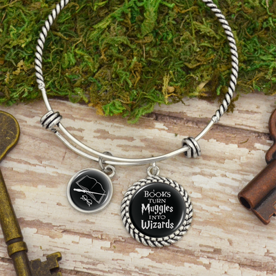 Books Turn Muggles Into Wizards Charm Bracelet