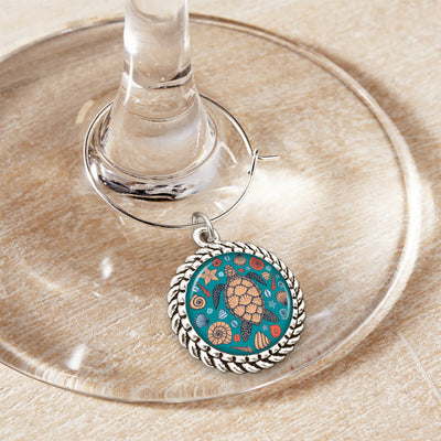 Beachy Turtle Wine Glass Charm