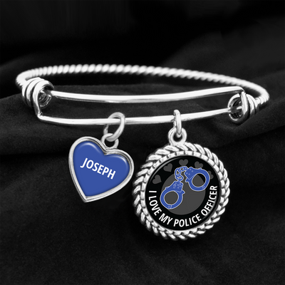 Personalized I Love My Police Officer Charm Bracelet