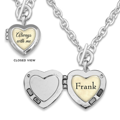 Parchment Always With Me Custom Name Heart Locket Necklace