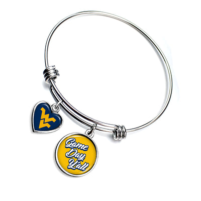 West Virginia Mountaineers Game Day Y'all Smooth Bangle Charm Bracelet