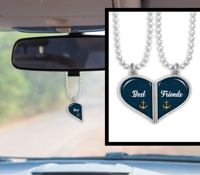 Best Friends Anchors Heart Half Pair Rearview Mirror Charms