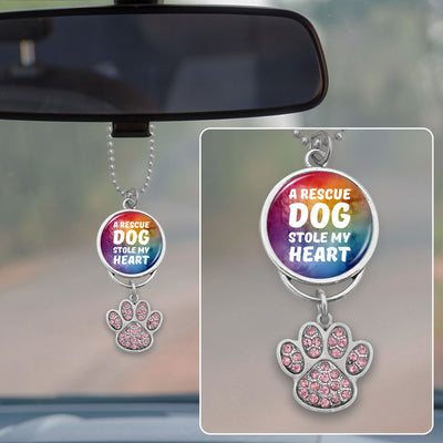 A Rescue Dog Stole My Heart Crystal Paw Rearview Mirror Charm
