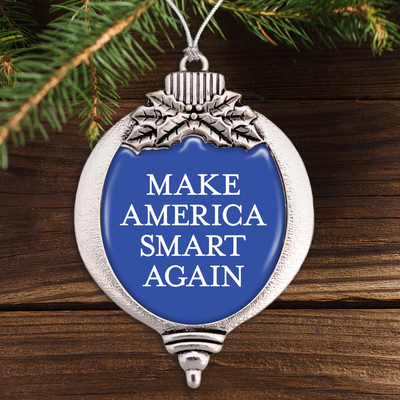 Make America Smart Again Blue Bulb Ornament