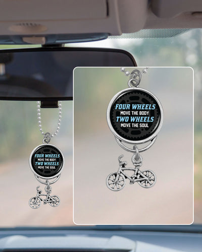 Four Wheels Move The Body, Two Wheels Move The Soul Cycling Rearview Mirror Charm