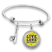 Live Love Softball Charm Bracelet