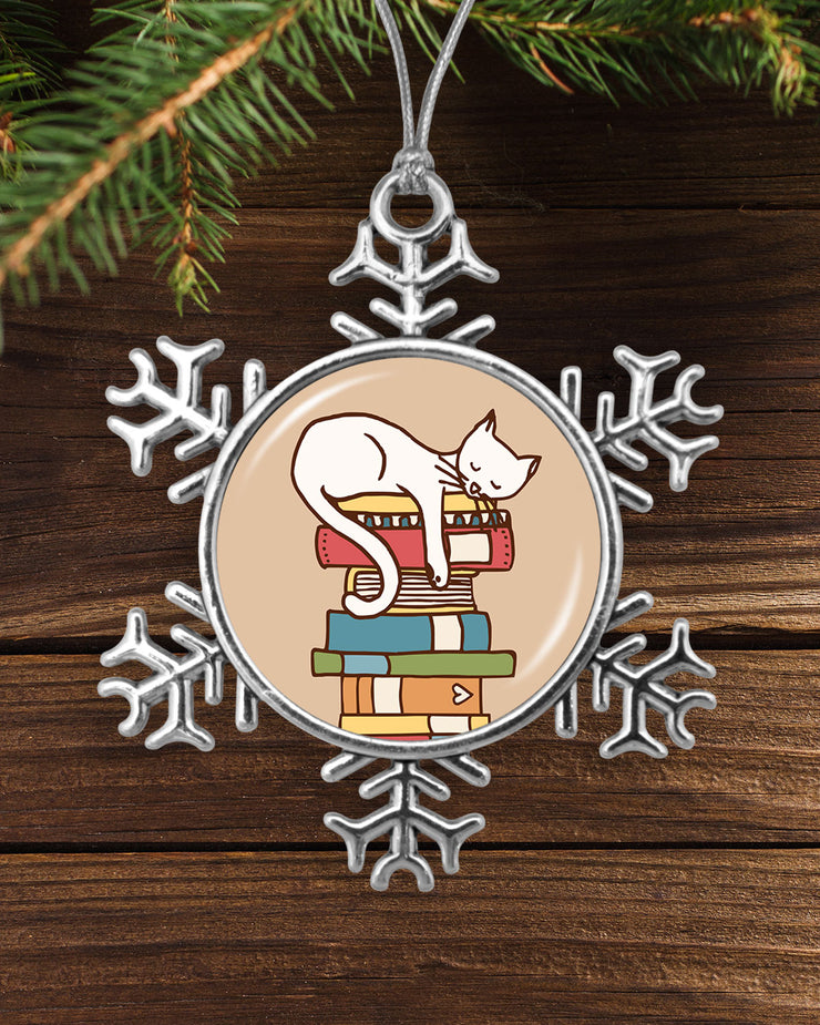 Sleeping Cat On Books Snowflake Ornament
