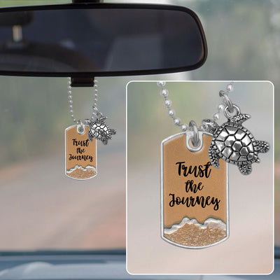 Trust The Journey Sea Turtle Sand Dog Tag Rearview Mirror Charm