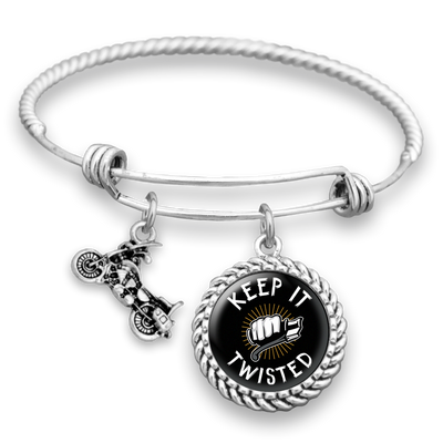 Keep It Twisted Motorcycle Charm Bracelet