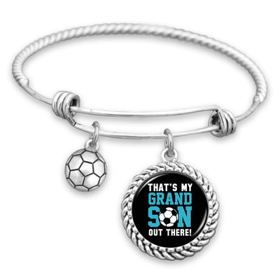 That's My Grandson Out There Soccer Charm Bracelet
