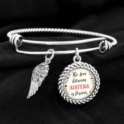 The Love Between Sisters Is Forever Crystal Wing Charm Bracelet