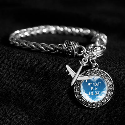 My Heart Is In The Sky Silver Braided Clasp Charm Bracelet
