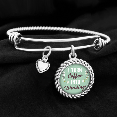 I Turn Coffee Into Weddings Charm Bracelet