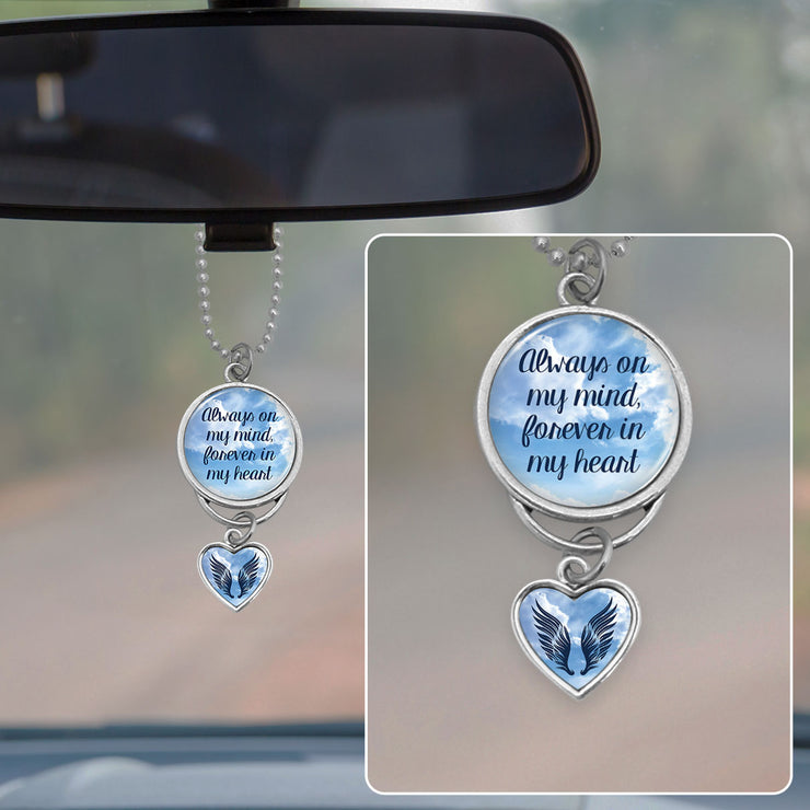 Always On My Mind Cloudy Sky Rearview Mirror Charm