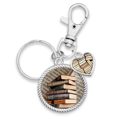 Old Books Charm Key Chain