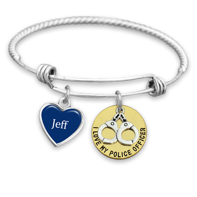 Customizable I Love My Police Officer Engraved Charm Bracelet