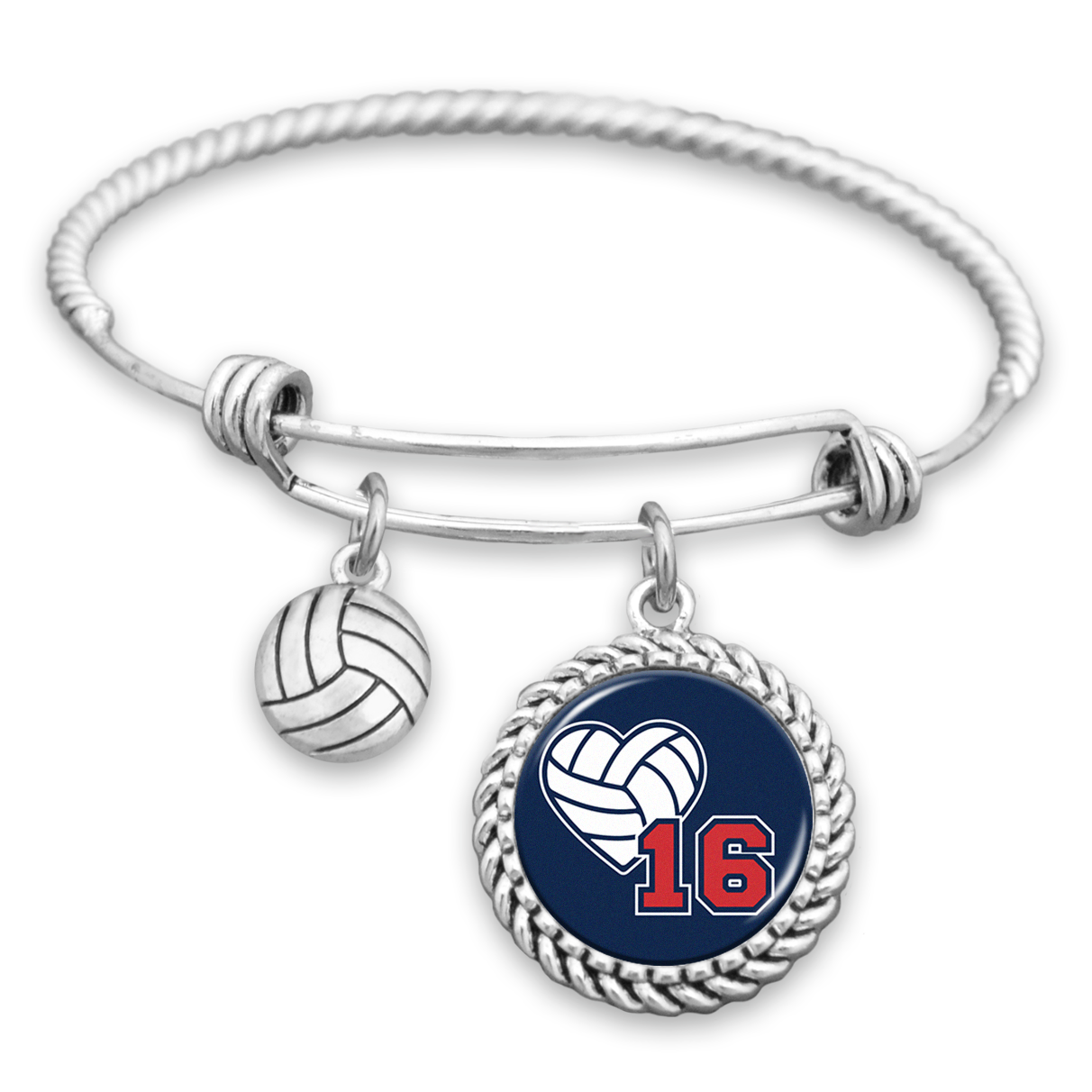 Volleyball Personalized Number Charm Bracelet