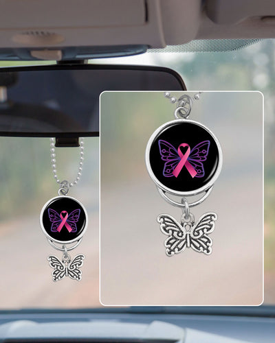 Breast Cancer Butterfly Ribbon Rearview Mirror Charm