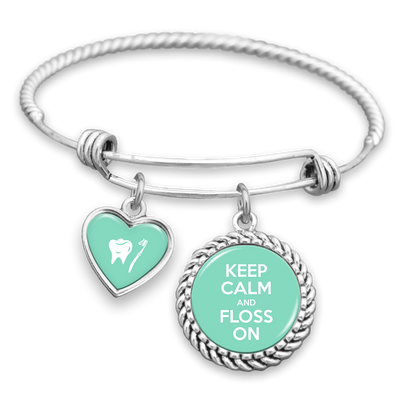 Keep Calm And Floss On Charm Bracelet