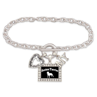 Boston Terrier Dog 3 Charm Bracelet
