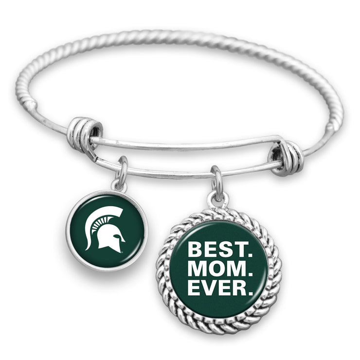 Michigan State Spartans Best Mom Ever Charm Bracelet