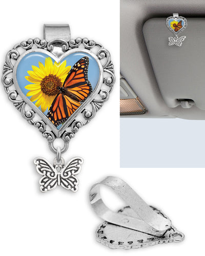 Orange Butterfly Heart Auto Visor Clip