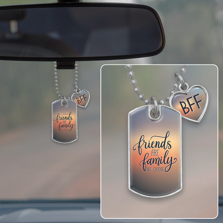 Friends Are Family We Choose Dog Tag Rearview Mirror Charm