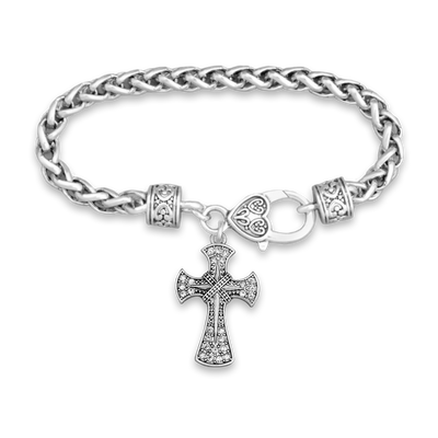 Crystal Cross Silver Braided Clasp Charm Bracelet