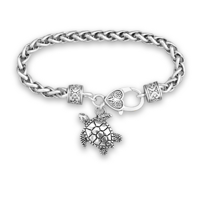 Sea Turtle Silver Braided Clasp Charm Bracelet