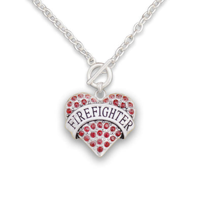 Firefighter Badge Charm Toggle Necklace