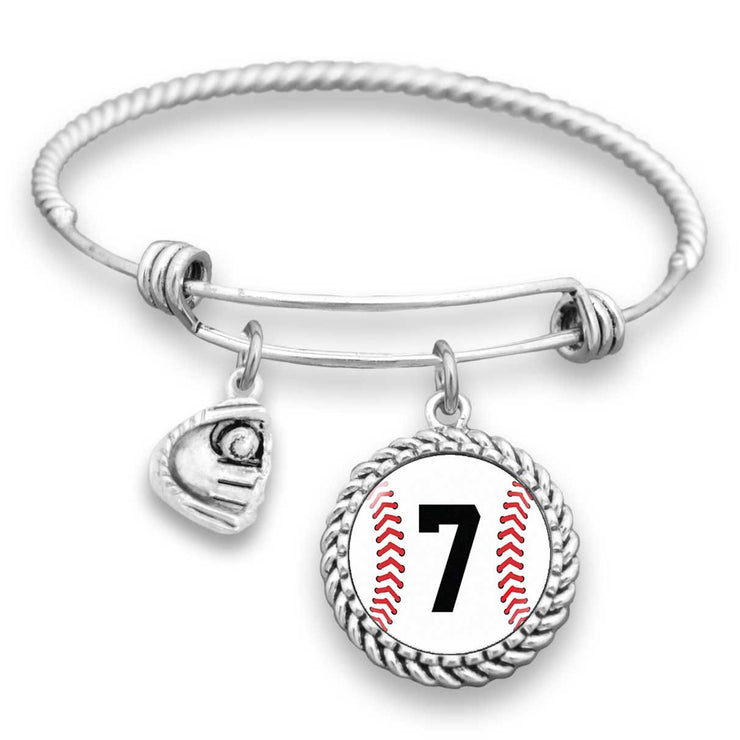 Baseball Personalized Number Charm Bracelet