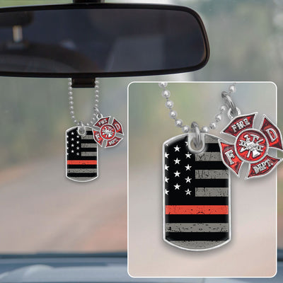 Thin Red Line Flag Firefighter Dog Tag Rearview Mirror Charm