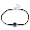 Thin Blue Line Black Suede Choker Necklace