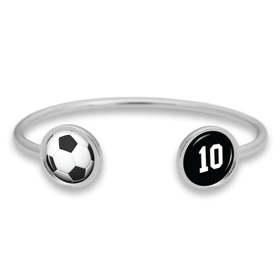 Soccer Ball Custom Number Duo Cuff Bracelet