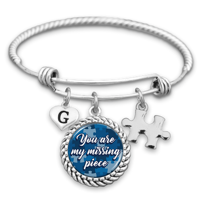 Customizable You Are My Missing Piece Charm Bracelet