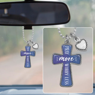 Pray More, Worry Less Cross Rearview Mirror Charm