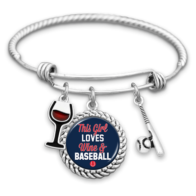 This Girl Loves Wine and Boston Baseball Charm Bracelet