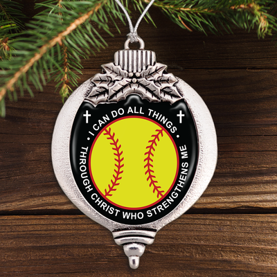 I Can Do All Things Through Christ Who Strengthens Me Softball Bulb Ornament