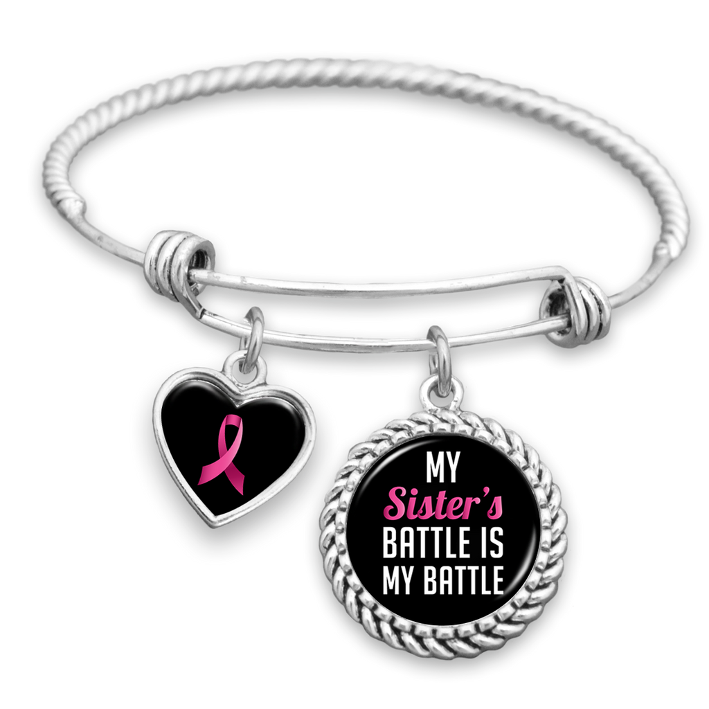 My Sister's Battle Is My Battle Breast Cancer Awareness Charm Bracelet