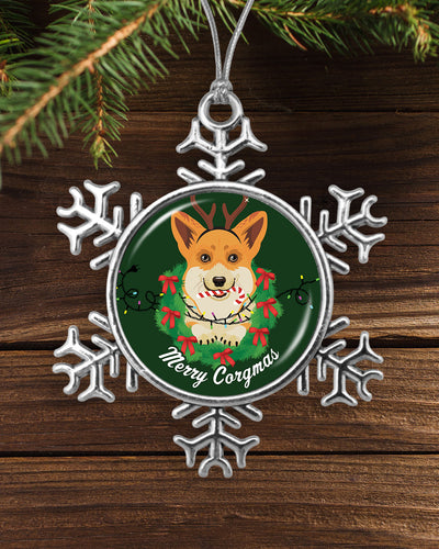 Merry Corgmas Snowflake Ornament