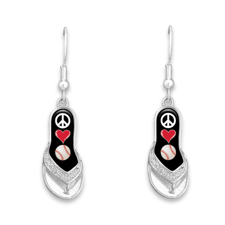 Baseball Peace Love Flip-Flop Earrings