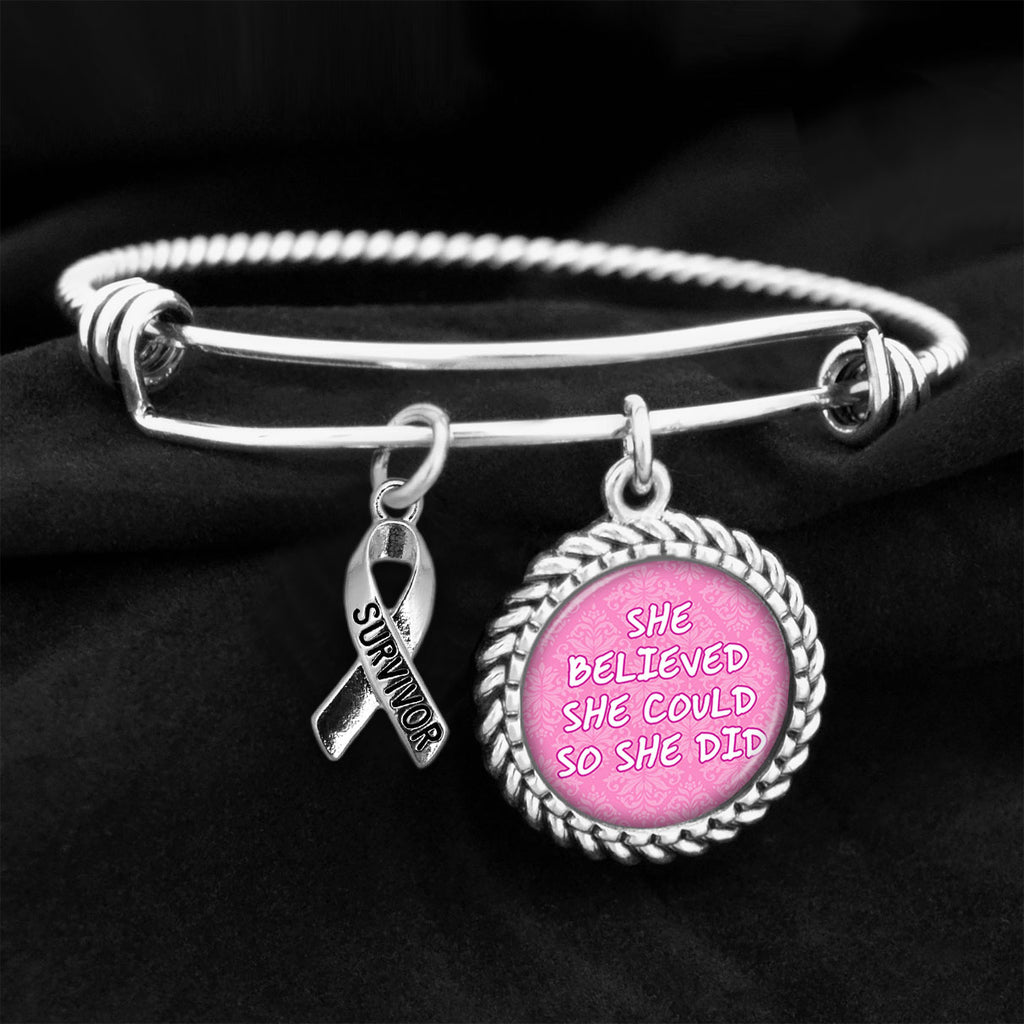 She Believed She Could So She Did Survivor Ribbon Breast Cancer Charm Bracelet