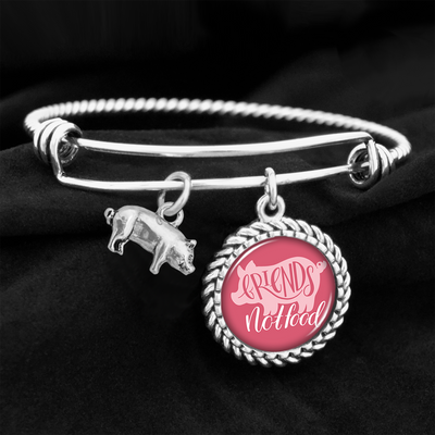 Friends Not Food Pig Charm Bracelet